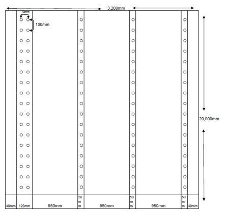 Croquis de distribución de ojales - Lona de protección de andamios