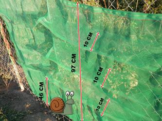 tamaño de malla antifuga para caracoles