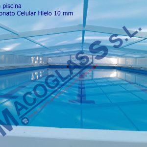 Cubierta para piscina con Policarbonato Celular Hielo